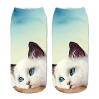 Kitty Printed Ankle Socks