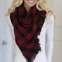Oversized Blanket Scarf - Red