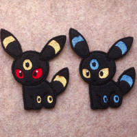 Pokedoll: Umbreon (Fuzzy Style Minky) - Pokemon Machine Embroidered Patch Applique