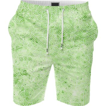 Greenery and white swirls doodles Summer Short