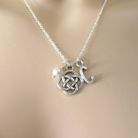 Personalized, Letter, Celtic, Knot, Silver, Necklace, Initial, Celtic, Customized, Celtic, Necklace, Initial, Pearl, Gift, Jewelry