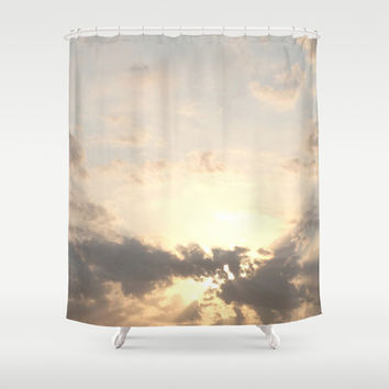 Wanderlust travel pastel dusk dawn horizon sky light clouds whimsical hipster nature photograph Shower Curtain by iGallery