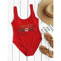 GUCCI BIKINI SWIMWEAR ONE PIECE VEST TYPE BODYSUIT RED