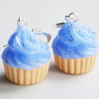 Cupcake Blue Glitter Earrings Fimo Polymer by SweetnNeatJewellery