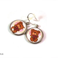 Teddy Bear Earrings for Women, Dangle Earrings, Valentines Day Earrings
