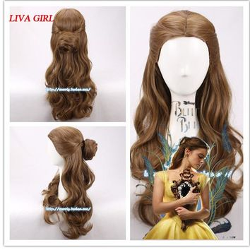 Movie Beauty and the Beast Princess Belle Wig Emma Waston Long Wavy Wig Cosplay /Role Play Costume