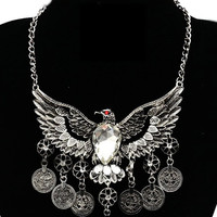 Silver Eagle Design Faceted Stone Statement Necklace