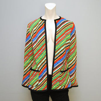 Vintage Quilted Blazer 1970's Collarless Open Jacket Long Sleeves Rainbow Primary Colors Diagonal Stripes Retro Patterned Colorful