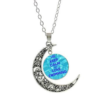 NEW 2017 new summer fashion Keep Calm And Love Swimming moon pendant chain necklace men women casual sports jewelry SP388
