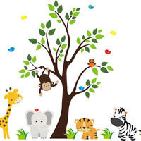 "Jungle Zoo Animal Wall Decals, Safari Baby Nursery Themed, Zebra Giraffe Tiger Stickers, Removable Animal Wall Decals - 83"" x 156"""