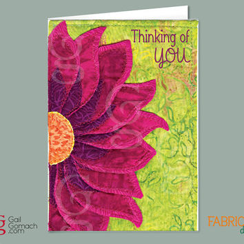 Quilted Greeting Card, THINKING OF YOU, Printed Quilt Card, Quilted Fabric Flower, 5 x7 w/ envelope, Sunflower aplique, purple cone flower