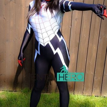 Cool Free Shipping DHL 3D Printing Spider Women Suit Silk Cindy Moon Spider Man Costume 2017 NEW Cosplay Halloween Bodysuit 16062201AT_93_12