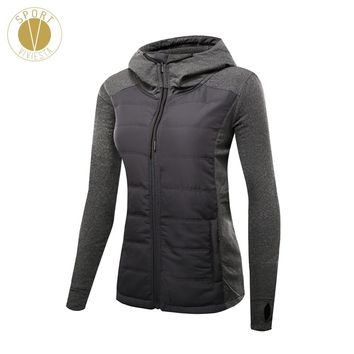 Slim Fit Quilted Puffer Jacket - Women's Gym Yoga Sports Winter Long Sleeves Thick Filled Insulated Padded Hooded Windbreaker