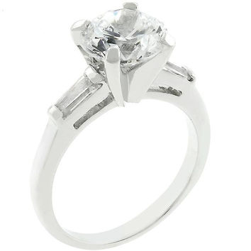 Classic Triple White Engagement Ring, size : 07