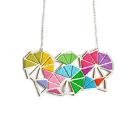 Rainbow Chevron Triangle Geometric Statement Necklace | Boo and Boo Factory - Handmade Leather Jewelry