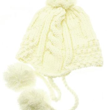 White Ear Flap Winter Beanie Hat And Cap