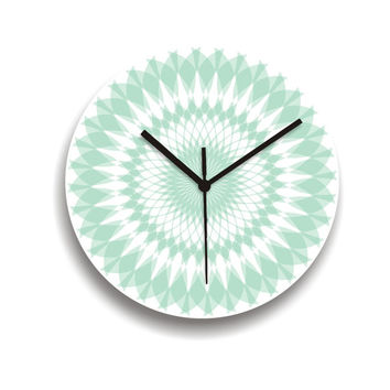 wall clock aqua turquoise soft pastel mandala geometric decor kitchen clock living room clock minimalist simple clock housewares and decor