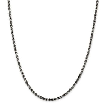 925 Sterling Silver Ruthenium 3mm Rope Chain Necklace, Bracelet or Anklet