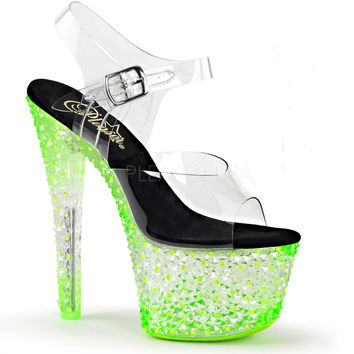 Icy Green Neon 7 Inch Stripper Shoes With Ankle Strap