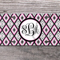 Monogrammed License Plate - Pink and Gray Diamond pattern, vanity car tag, front license plate - 324