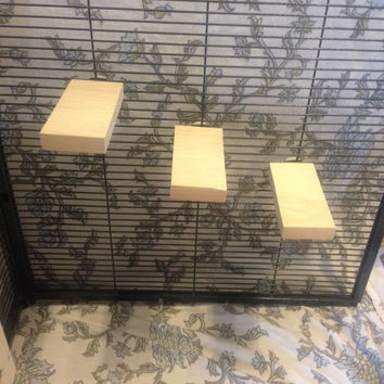Set of 3 small Kiln Dried Pine Chinchilla Ledges + Mounting Hardware