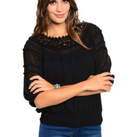 3/4 Sleeve Crochet Trimmed Peasant Blouse