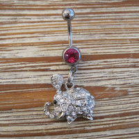 Belly Button Ring - Body Jewelry - Silver Rhinestone Indian Elephant with Light Pink Gem Stone Belly Button Ring