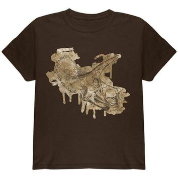 LMFCY8 Dinosaur Fossil Triceratops Skull Youth T Shirt