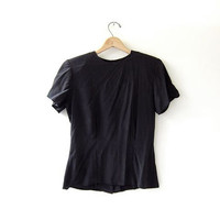 vintage silk blouse. black silk blouse. black silk shirt. minimalist top.