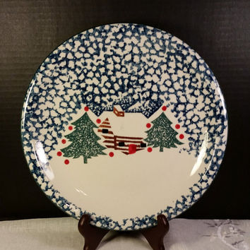 Cabin In The Snow Folk Craft Tienshan Blue Trim Vintage Christmas Dinnerware Houseware Dish Large Dinner Plate Log Cabin Christmas Trees