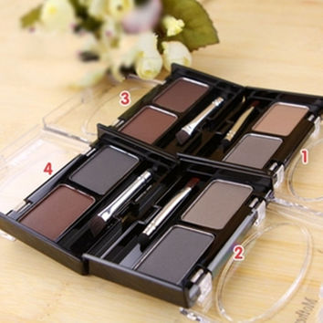 Brand New Waterproof Eyebrow Powder For Women, Eyeshadow Eye Brow With Brush 2 Color Eyebrow Cake Makeup Palette Make Up Set Kit