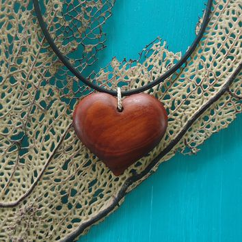 Red heart love pendant hand carved in exotic red heart wood