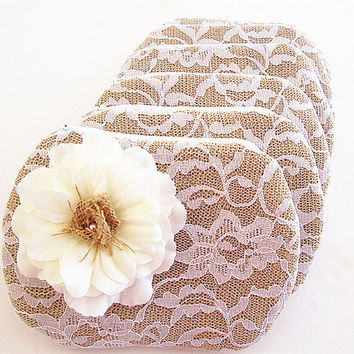 Set of 6 Burlap Clutches-Burlap clutch- bridal clutch bridesmaid clutch- Flower Lace .