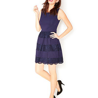 FLIRTY HALF LACE DRESS NAVY