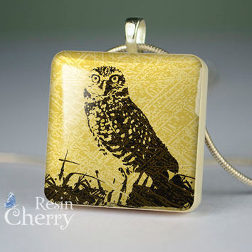 owl scrabble tile pendant,resin pendants,owl jewelry pendant- A0397SP