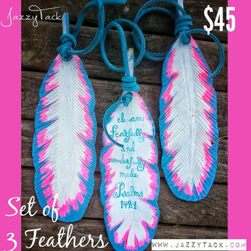 I Am Fearfully & Wonderfully Made Leather Feathers (Set of 3 Feathers)