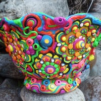 "Colorful Magical Ceramic Bowl Transformed by Clay Mosaic, ""Wonderland"""