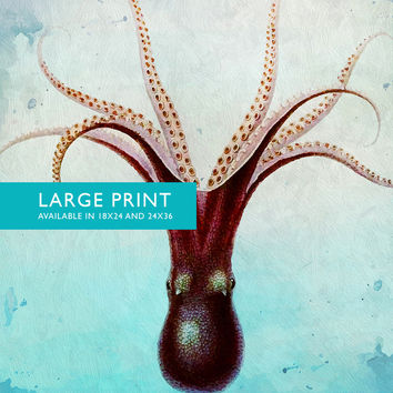 Octopus Art Print Sea Squid Vintage Nautical Decor Ocean Wall Art Giclee Print on Cotton Canvas and Satin