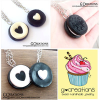 Oreo Inspired Best Friends Necklace - Set of 2 - Mini Heart Realistic Food Miniature Jewelry - Handmdade Sweet Polymer Clay Necklace - Gift
