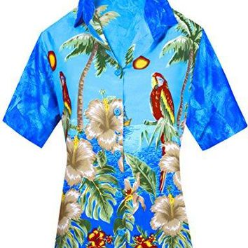 Women Hawaiian Shirt Blouses Beach Top Tank Casual Aloha Holiday Boho Button Up