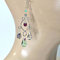Rainbow Quartz Green Fluorite Rhodolite Garnet Handmade Silver Chandelier Earrings Multi Gem Stone Earrings Sterling Silver Colorful Earring