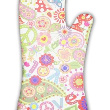 Oven Mitt, Hippie Childish Colorful Wallpaper With Mushrooms And Poppies