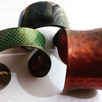 Selection Of 3 Ladies Bangles, Cuffs, Brass & Plastic, Costume Jewellery