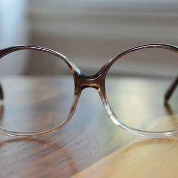 Brown Fades 1980s Oversized Vintage Eyeglasses 54/20 Frame France