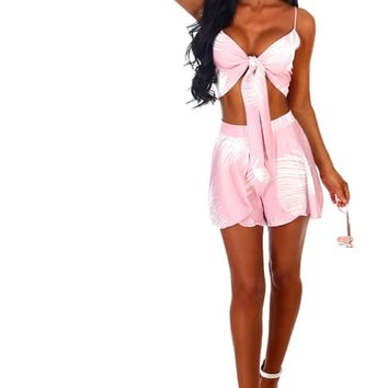 Malibu Barbie Pink and White Tropical Print Co-ord