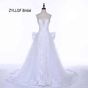 ZYLLGF Bridal Real Photos Wedding Dresses Sweetheart Sweep Train Appliques Beaded Vestido De Novias 2017 With Back Bow DS1