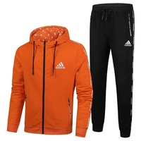 ADIDAS 2018 autumn and winter new men's sports and leisure fitness two-piece orange