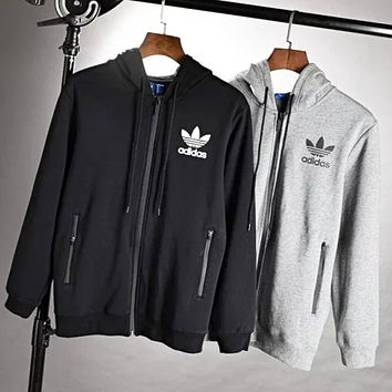 Adidas New fashion bust letter leaf print hooded thick keep warm long sleeve top coat men