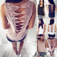 Solid Color Sexy Stitching Sleeveless Vest T-Shirt
