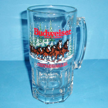 1989 Budweiser Clydesdales Large Glass Mug Christmas Holiday Winter Scene 8 Inches Tall
